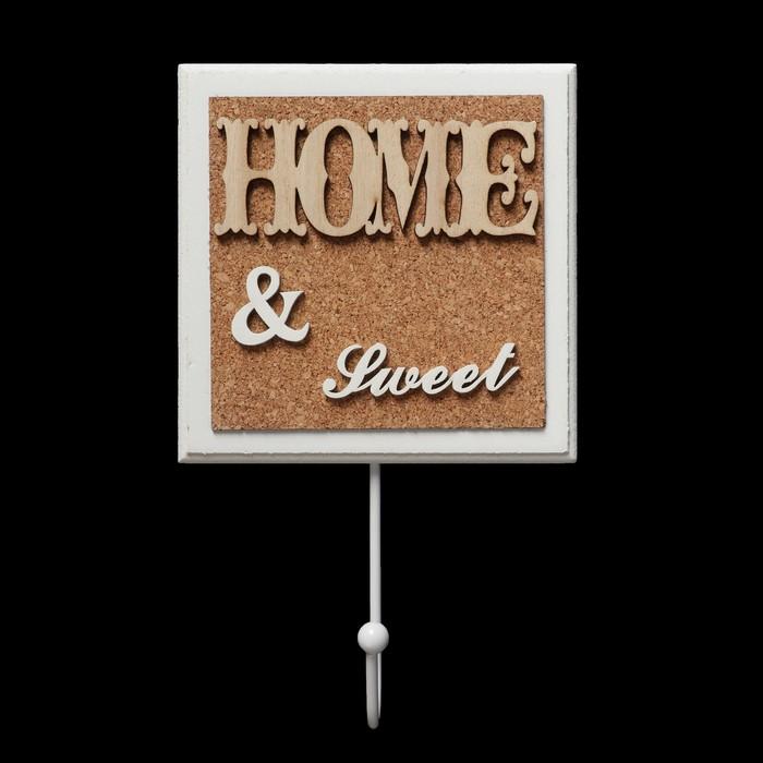 """Крючок декоративный дерево """"HOME&SWEET"""" 21,5х13 см"""