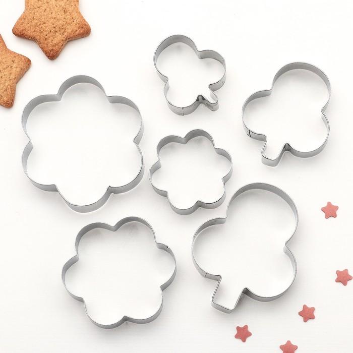 """Набор форм для вырезания печенья """"Клевер, цветок"""", 6 шт - фото 166757696"""