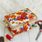 Шкатулка для рукоделия «Акварельные цветы», 9,5 × 19,5 × 13 см