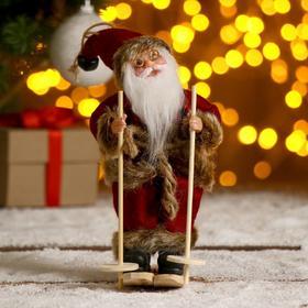 """Дед Мороз """"На лыжах"""" в бордовом костюме 17 см"""