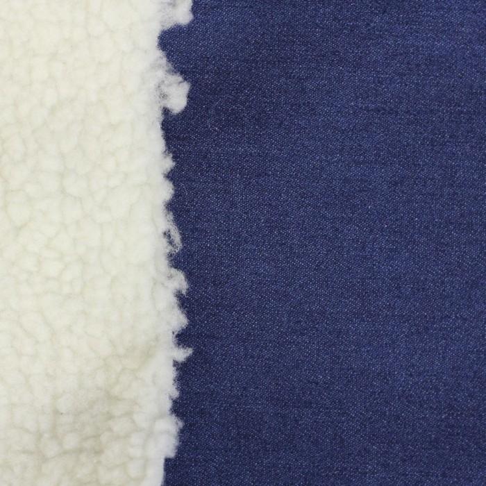 Мех искусственный, бондинг джинс, ширина 150 см, белый