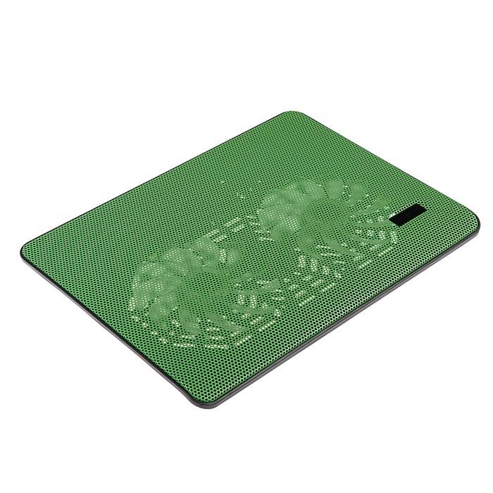 Подставка Luazon для охлаждения ноутбука, зеленая, провод 40 см, 2 вентилятора