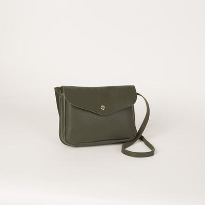 Bag for women, the division on the flap, long strap, green