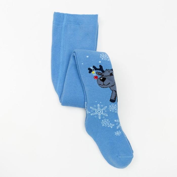 Колготки детские махровые «Оленёнок», цвет голубой, рост 98-104