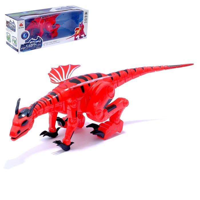 Динозавр-робот DRAGON, работает от батареек, световые и звуковые эффекты, МИКС