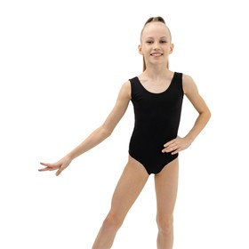 Купальник гимнастический на широких бретелях, размер 30, цвет чёрный Ош