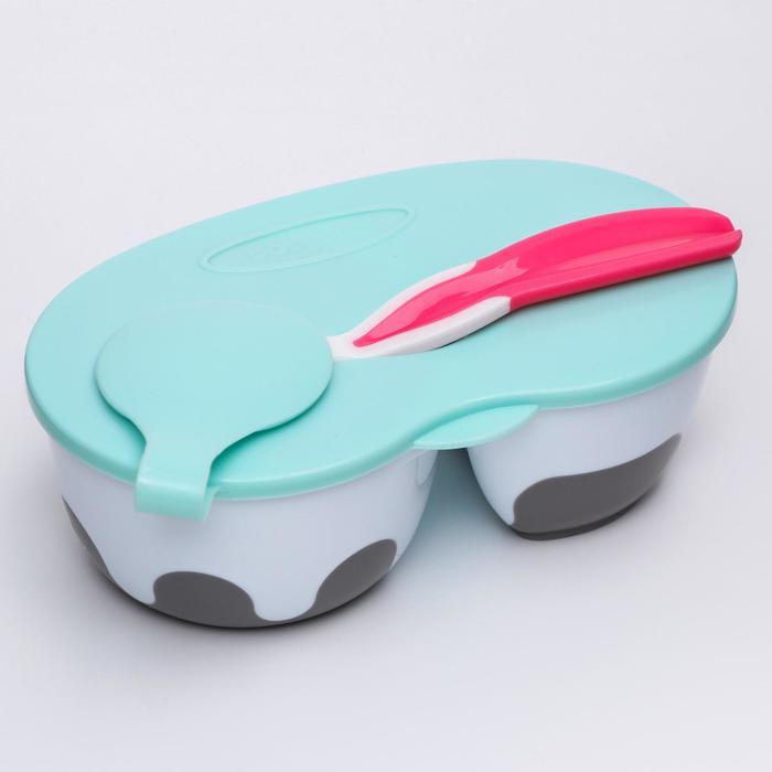 Тарелочка BabyOno с отделениями и ложечкой, цвет МИКС