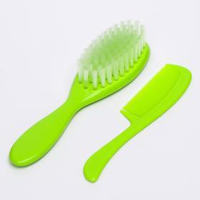 Расчёска детская + массажная щётка для волос, цвета МИКС