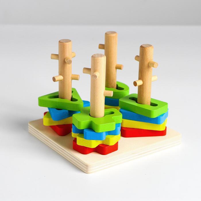 Пирамидка логическая 4 столбика, 16 деталей