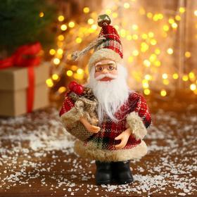 """Дед Мороз """"В красной клетчатой шубке с мешком"""" 10*14 см"""