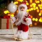 """Дед Мороз """"На лыжах"""" в вязанном костюме 17 см"""