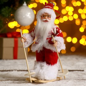 """Дед Мороз """"На лыжах"""" в вязаном костюме 17 см"""