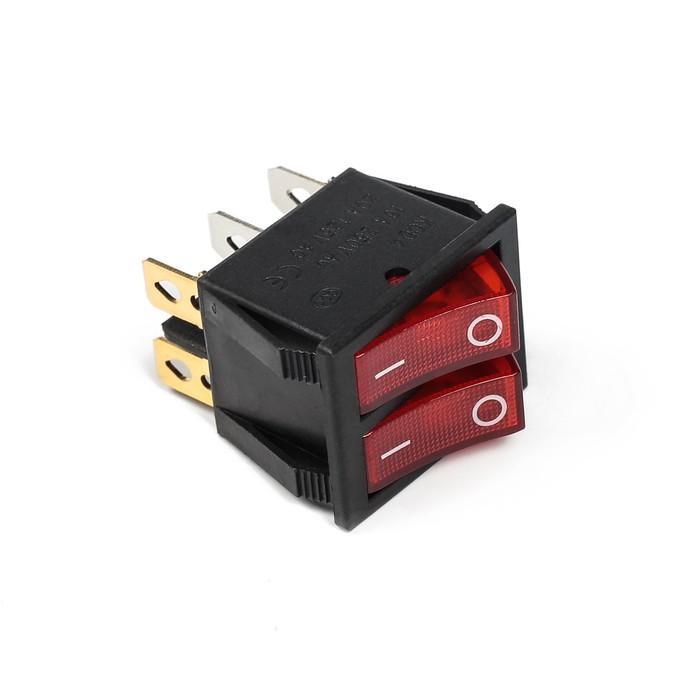 Выключатель клавишный, двойной с подсветкой, красный