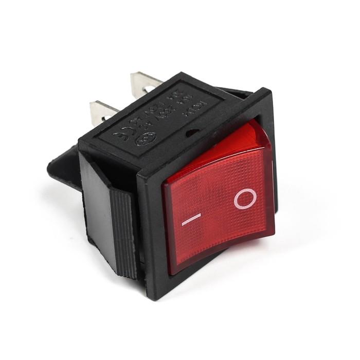 Выключатель клавишный, одинарный с подсветкой, красный