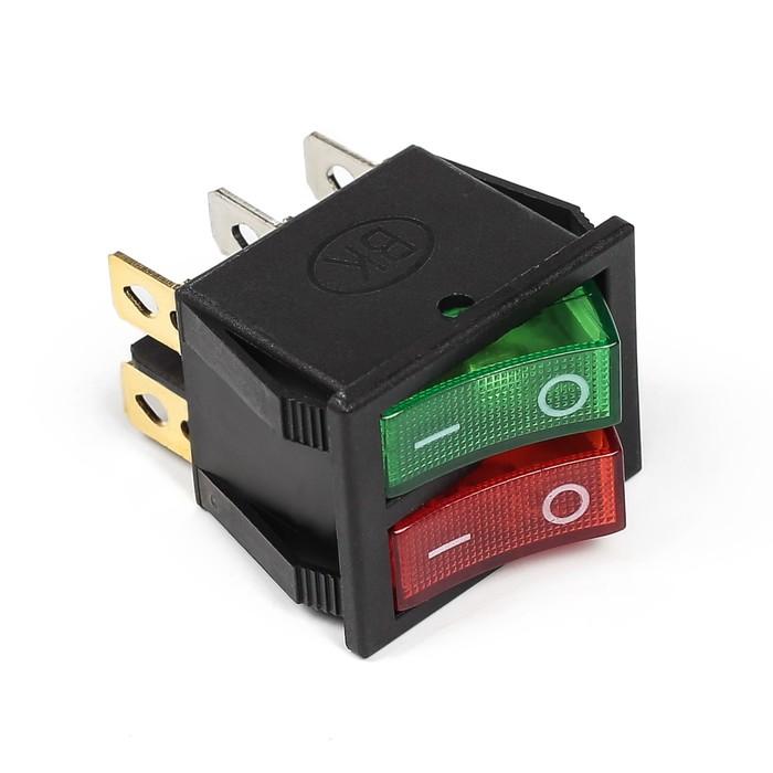Выключатель клавишный, двойной с подсветкой, зелено-красный