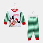 Пижама детская, размер 64, рост 122-128 см, белый/зеленый(Лось )