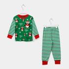 Пижама детская, размер 60, рост 110-116 см белый/зеленый (Пингвин)