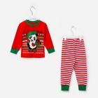 Пижама детская, размер 52, рост 86-92 см, красный/белый (Панда)
