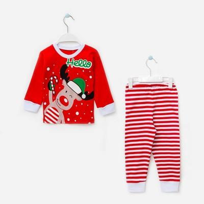 Пижама детская, размер 60, рост 110-116 см красный/белый (Лось )