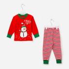 Пижама детская, размер 56, рост 98-104 см красный/белый (Снеговик)