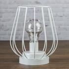"""Лампа настольная лофт """"Вечер"""" белая 3АА 14,5х14,5х17,5 см"""