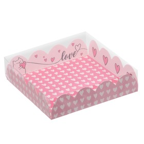 Box for confectionery products with PVC-cover Love, 13 × 13 × 3 cm