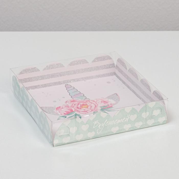 Коробка для кондитерских изделий с PVC-крышкой «Волшебных моментов», 13 × 13 × 3 см - фото 308984926