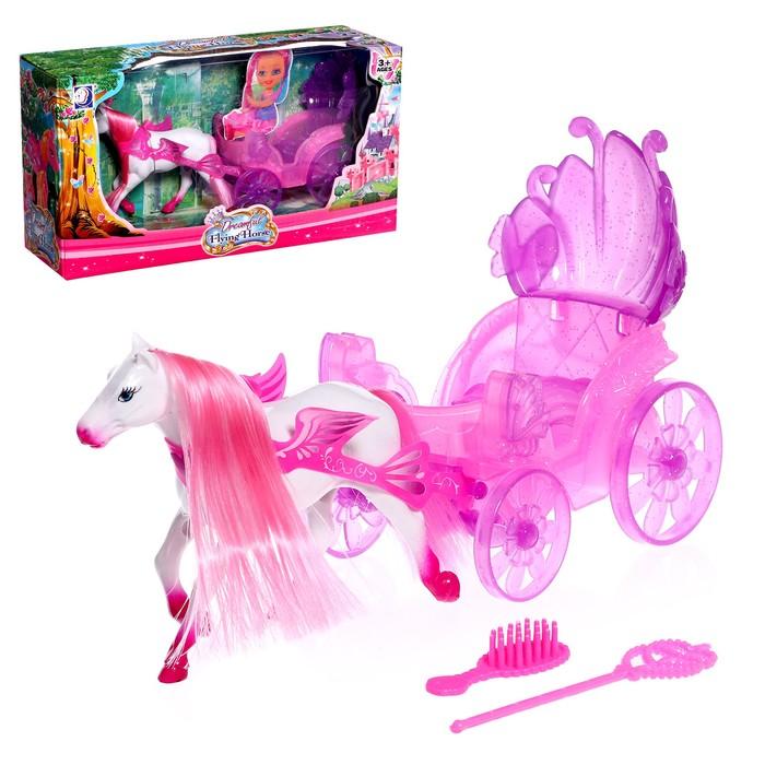 Карета для куколки-малышки с пони