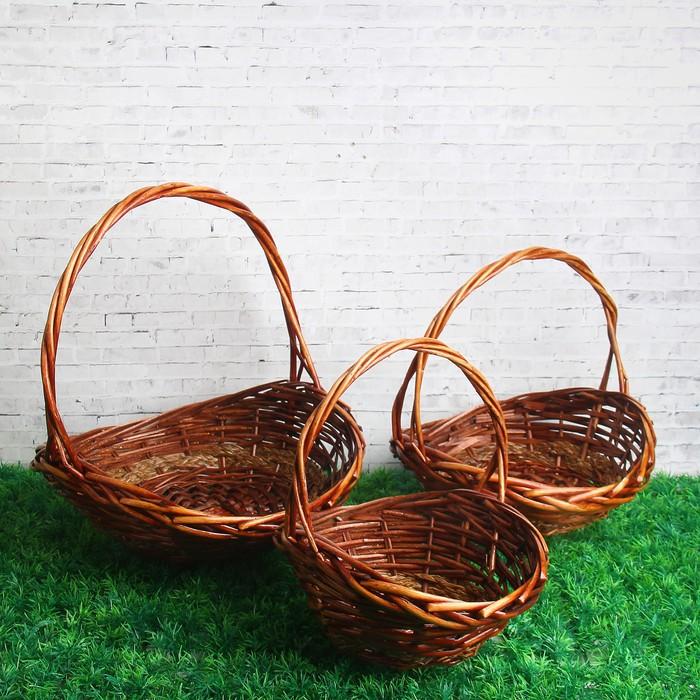 Набор корзин, 3 шт: 34×31×10/34 см, 29×27×9/29 см, 24×20×9/25 см, ива, гиацинт