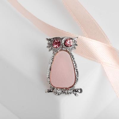 """Brooch """"Owl"""" the owl, the color pink in silver"""
