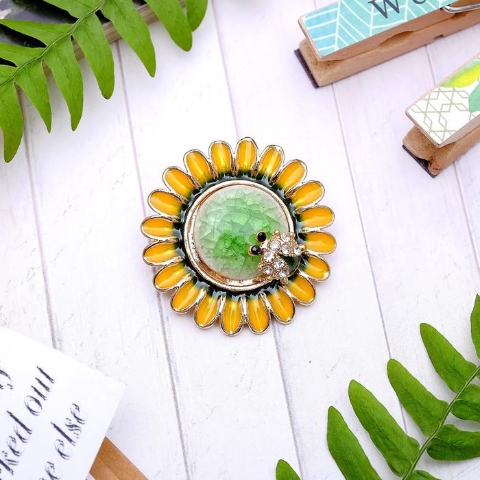 "Брошь ""Цветок подсолнуха"" и пчелка, цветная в золоте - фото 245323996"