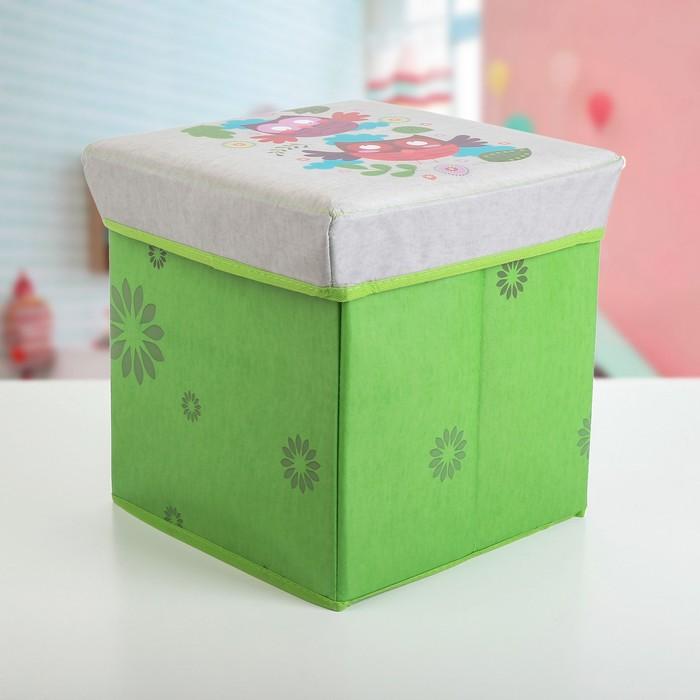 """Короб для хранения 30×30×32 см """"Совы"""", цвет зелёный"""