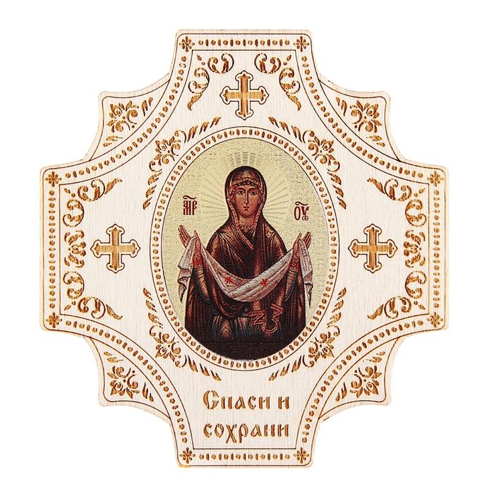"""Крестообразная икона в авто """"Богородица"""" на клеящейся основе"""