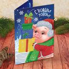 """Алмазная вышивка на открытке """"Свинка"""" + емкость, стержень с клеевой подушечкой"""