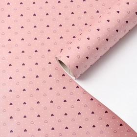 """Бумага упаковочная перламутровая """"Влюбленность"""", дымчато розовый, 0,53 х 10 м"""