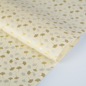 Бумага тутовая, HANJI, «Гинкго», золотые и серебряные листья, 0,64 х 0,94 м, 30 г/м2