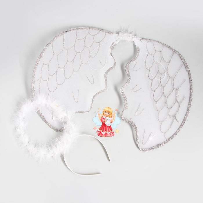 Карнавальный костюм для девочек «Ангелочек», крылья, нимб, термонаклейка, 3-5 лет