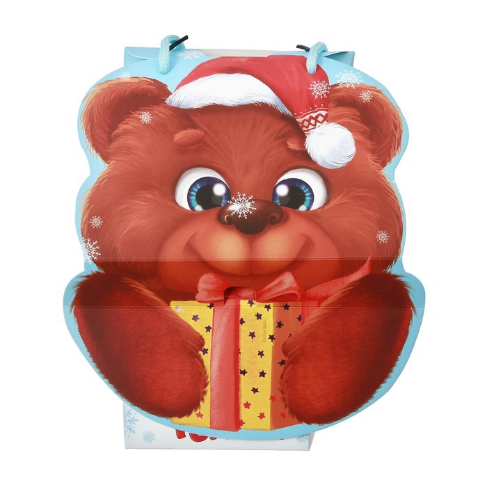 Рюкзачок складной «Мишка с подарками», 13 × 21 × 10 см