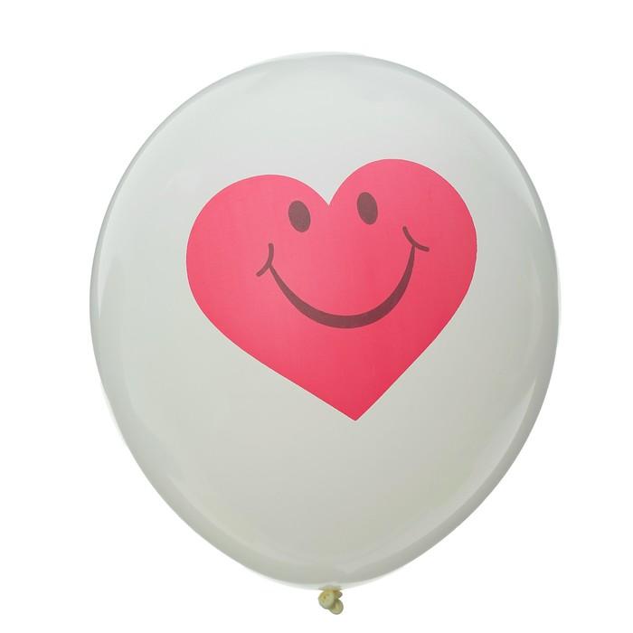"""Шар латексный 12"""" """"Сердце с улыбкой"""", 5 шт., цвет белый - фото 158478080"""