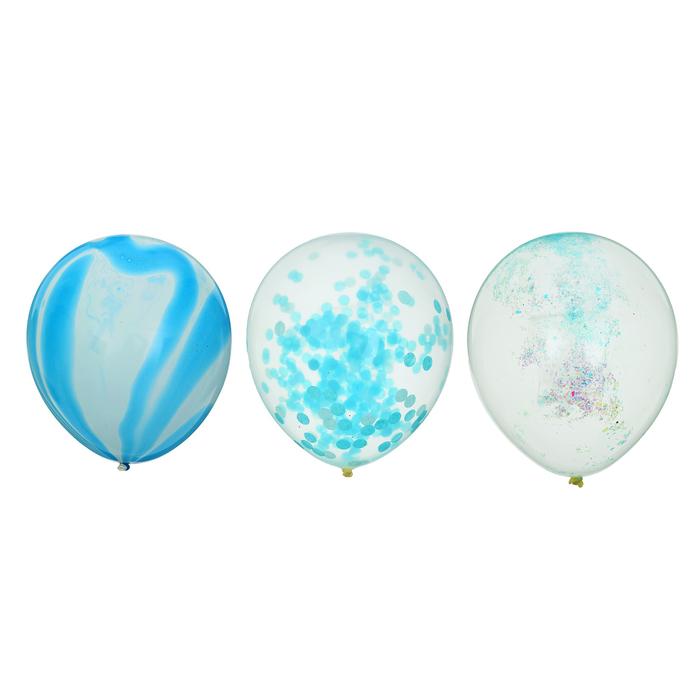 """Шары латексные 12"""" «Голубая лагуна», прозрачные, с конфетти, блёстки, лента, набор 3 шт. - фото 308470371"""