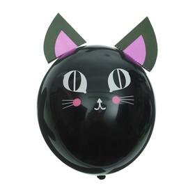 """Шар латексный 12"""" «Зверята котята», наклейки, набор 5 шт., цвет чёрный"""