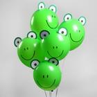 "Шар латексный 12"" «Зверята лягушата», наклейки, набор 5 шт., цвет зелёный - фото 308470379"