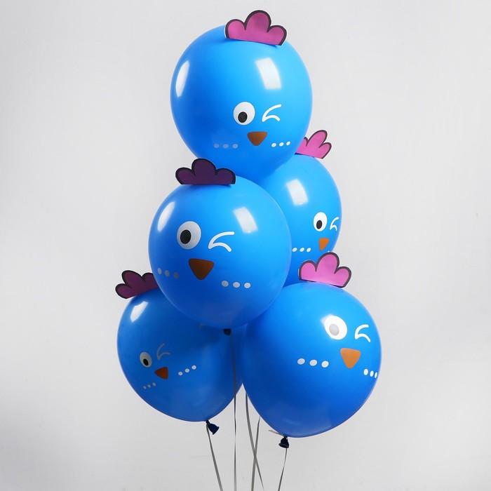 """Шар латексный 12"""" «Зверята воробушки», наклейки, набор 5 шт., цвет голубой - фото 460241"""