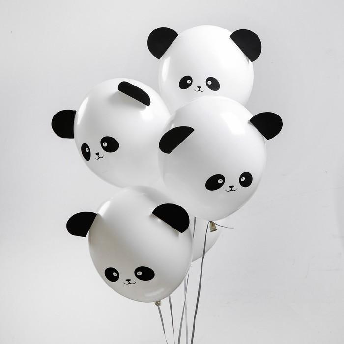 "Шар латексный 12"" «Зверята панды», наклейки, набор 5 шт., цвет белый - фото 308469450"