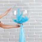 """Шар полимерный 18"""" «Прозрачный с бумажным хвостиком», перья, цвет голубой, 1 шт. - фото 308466537"""
