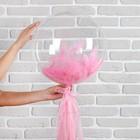 """Шар полимерный 18"""" «Прозрачный с бумажным хвостиком», перья, цвет розовый, 1 шт. - фото 308466196"""