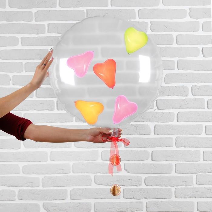 """Шар полимерный 22"""" """"Прозрачный с шарами внутри"""" сердца, 1 шт"""