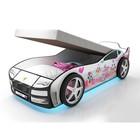 Кровать-машина «Турбо Белая 2 с подъёмным матрасом» с подсветкой дна и фар + пласт. колёса (2 шт)