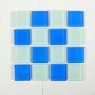 Мозаика стеклянная на клеевой основе №27, цвет белый с синим