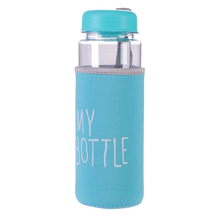 """Бутылка для воды """"My bottle"""", 500 мл, в чехле, крышка винтовая, голубая, 6.5х6.5х19 см"""